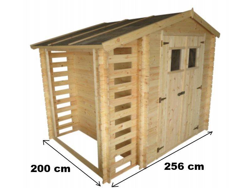 CASETTE DA GIARDINO : CASETTA IN LEGNO CON LEGNAIA 256x200x218h cm